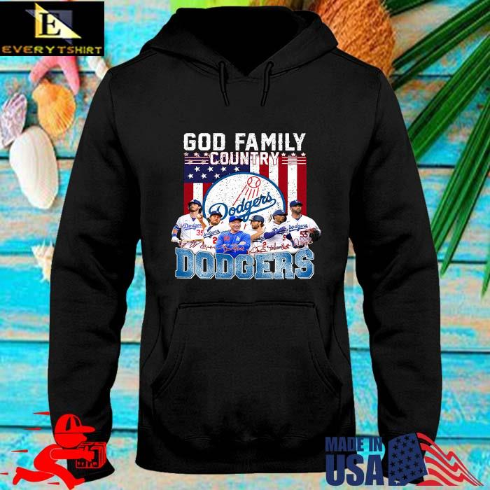 God family country Los Angeles Dodgers signatures American flag s hoodie den