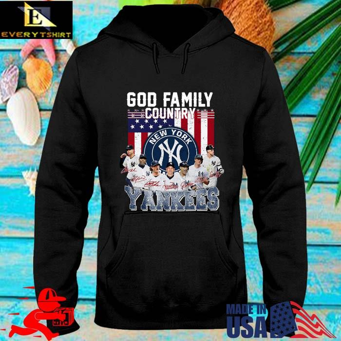 God family country New York Yankees signatures American flag s hoodie den