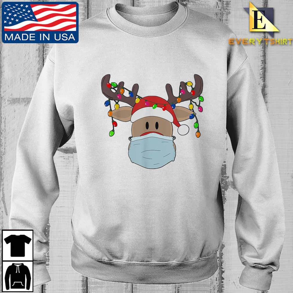 Reindeer face mask light Christmas sweater