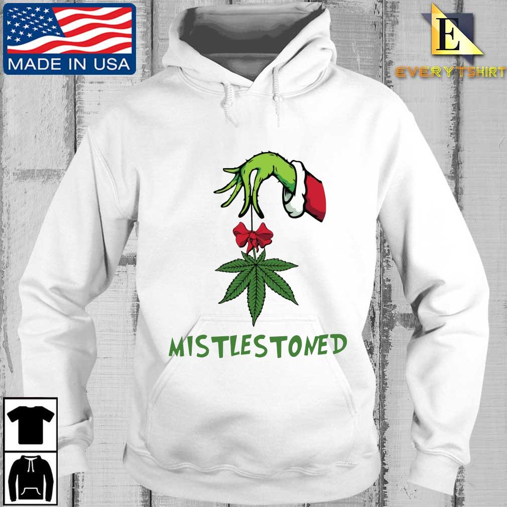 The Grinch hand holding weed mistlestoned Christmas sweater Every hoodie trang