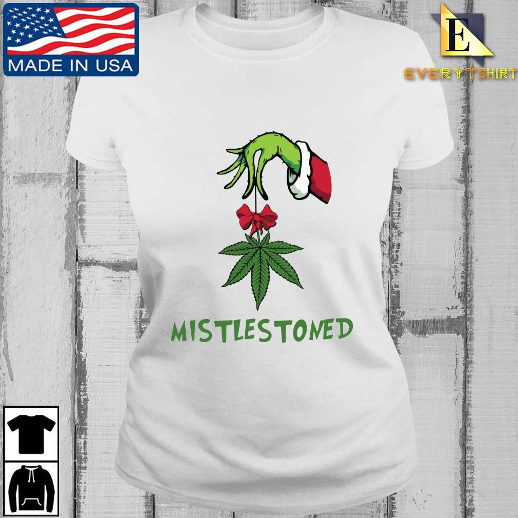 The Grinch hand holding weed mistlestoned Christmas sweater Every ladies trang