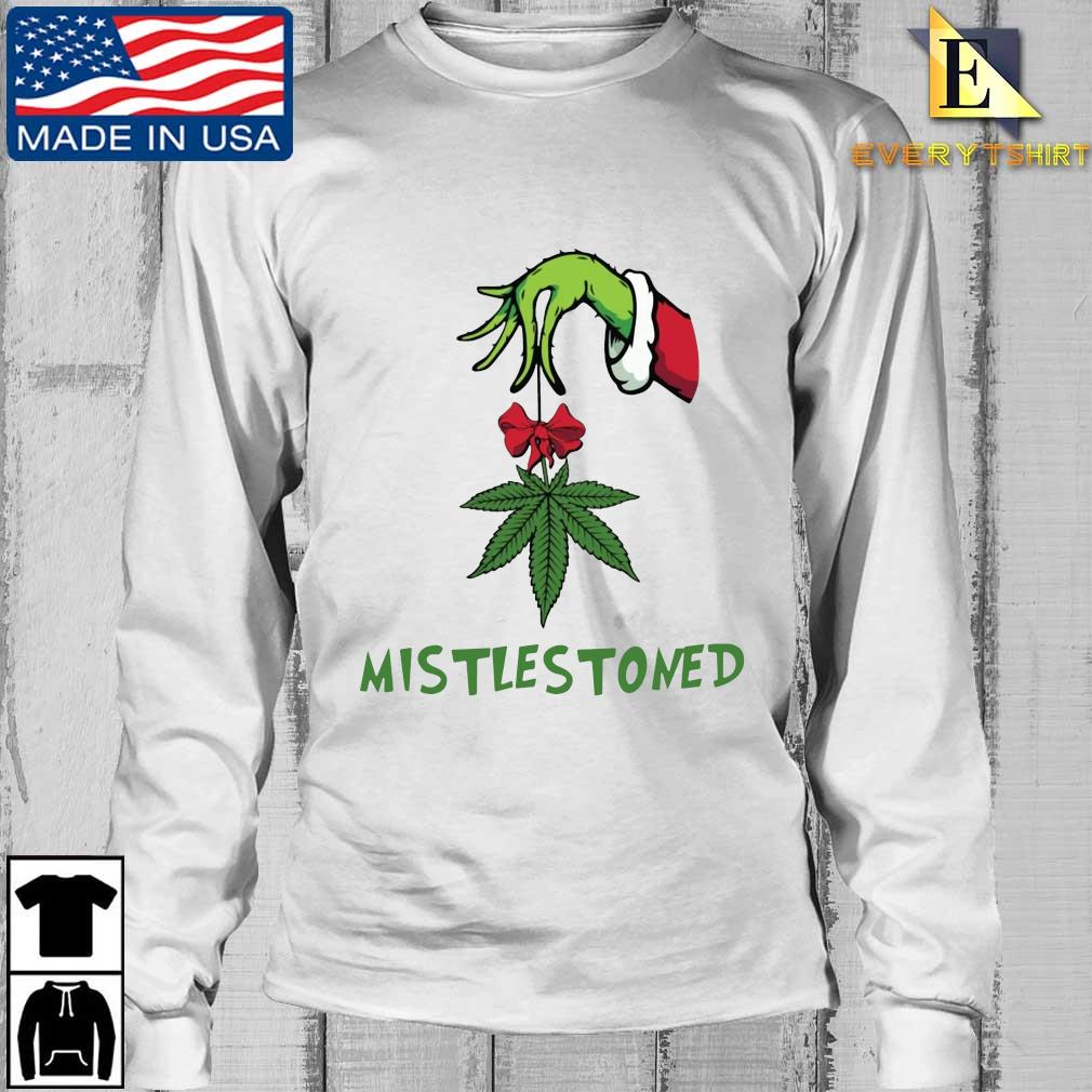 The Grinch hand holding weed mistlestoned Christmas sweater Longsleeve Every trang