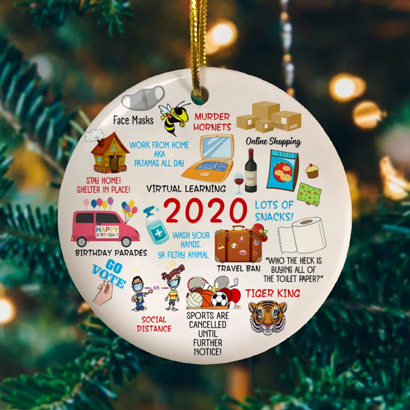 2020 Pandemic Quarantine Circle Christmas Ornament – Year Of 2020 Memories Holiday Decorative Ornament