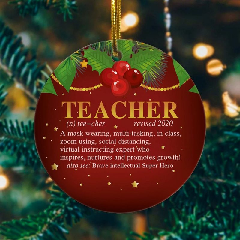 2020 Teacher Revised Quarantined Pandemic Christmas Ornament