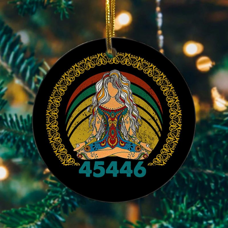 45446 Beige AF 45 Percent Yoga Namaste – Joe Biden 46 Better Than 45 Christmas Flat Circle Ornament
