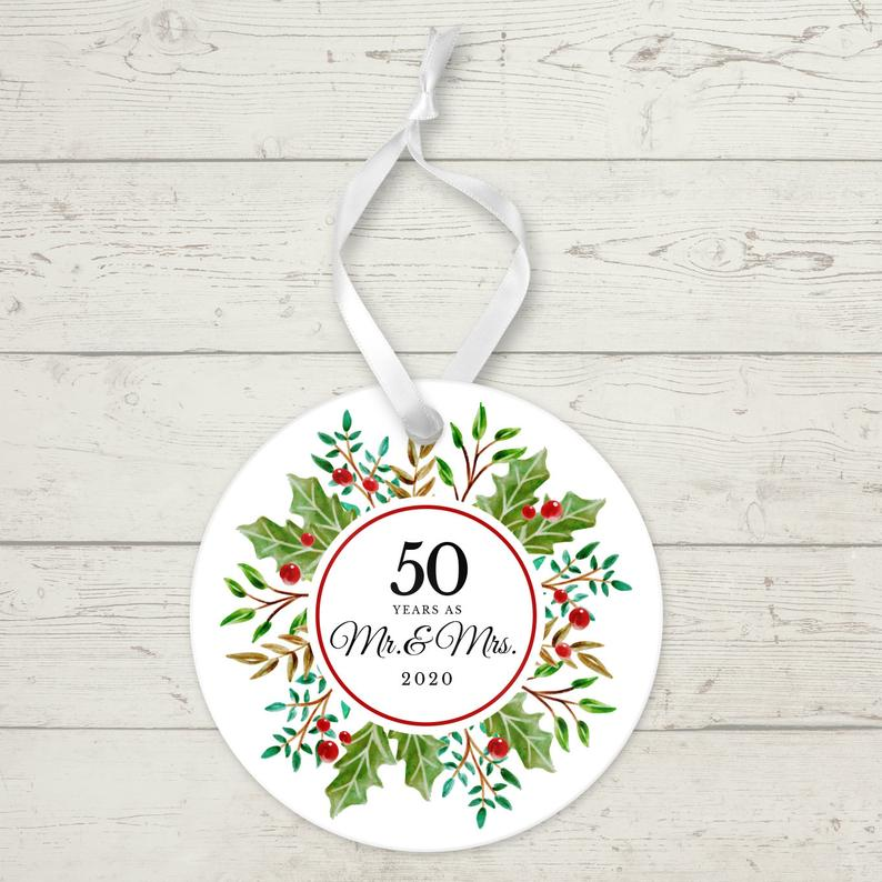 50 Years as Mr. and Mrs. Ceramic Round Ornament