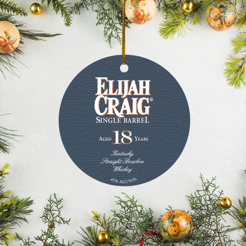 Back Elijah Craig 18 Year Old Single Barrel Christmas Circle Ornament