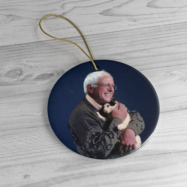 Bernie Sanders Christmas Decoration Bernie Holding Cat Ornament