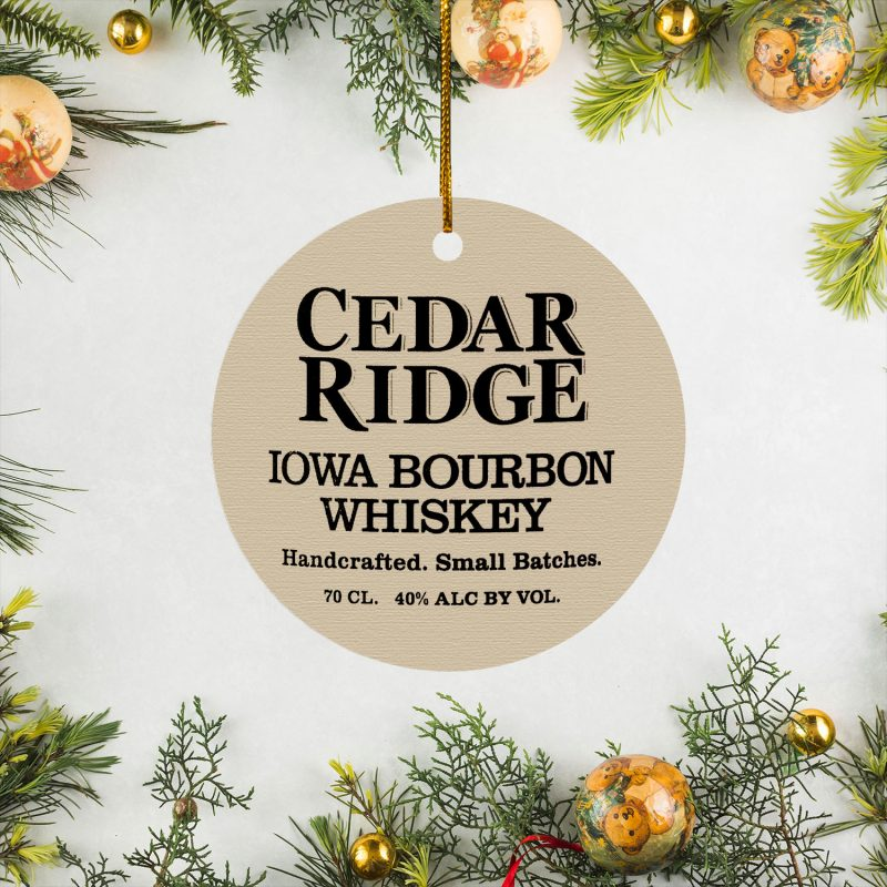Cedar Ridge Iowa Bourbon Whisky Christmas Circle Ornament