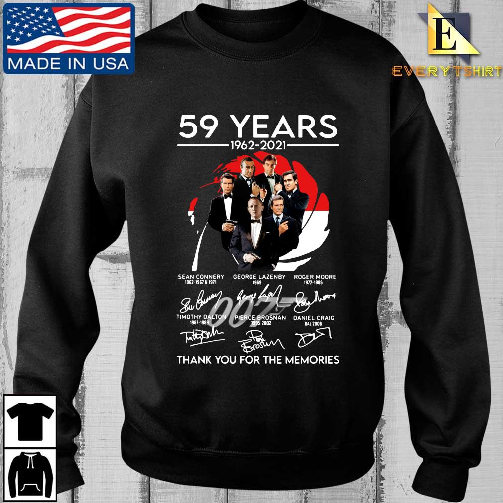 007 59 years 1962-2021 thank you for the memories signatures shirt