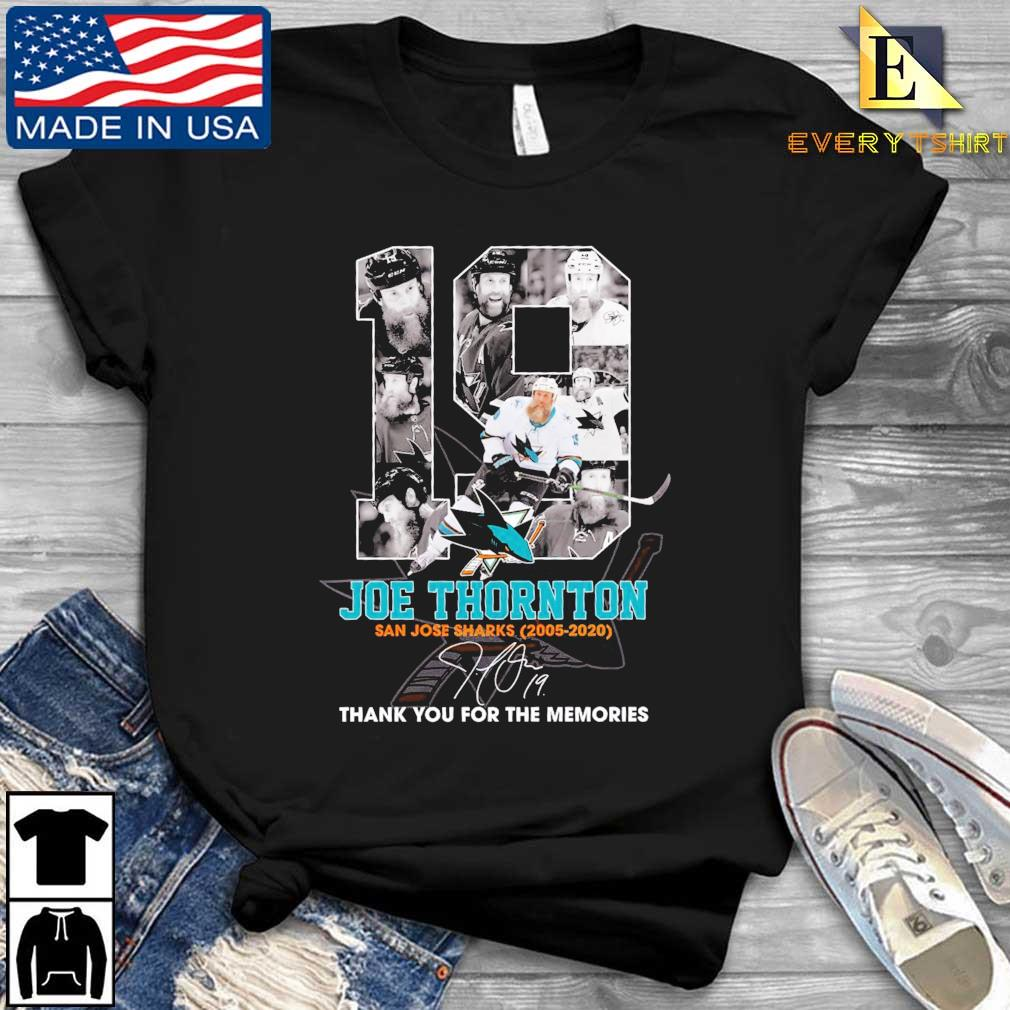 19 Joe Thornton San Jose Sharks 2005-2020 thank you for the memories signature shirt