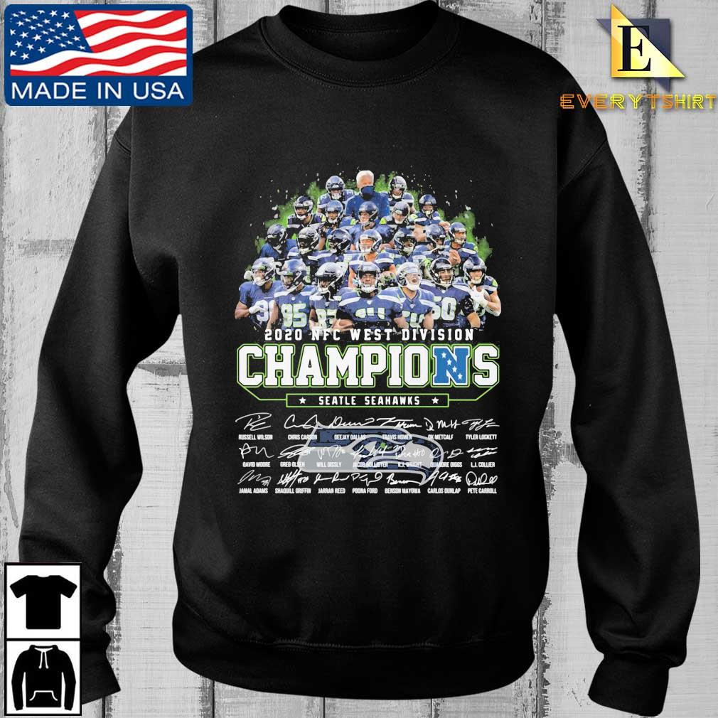 2020 NFC west division Champions Seattle Seahawks signatures shirt