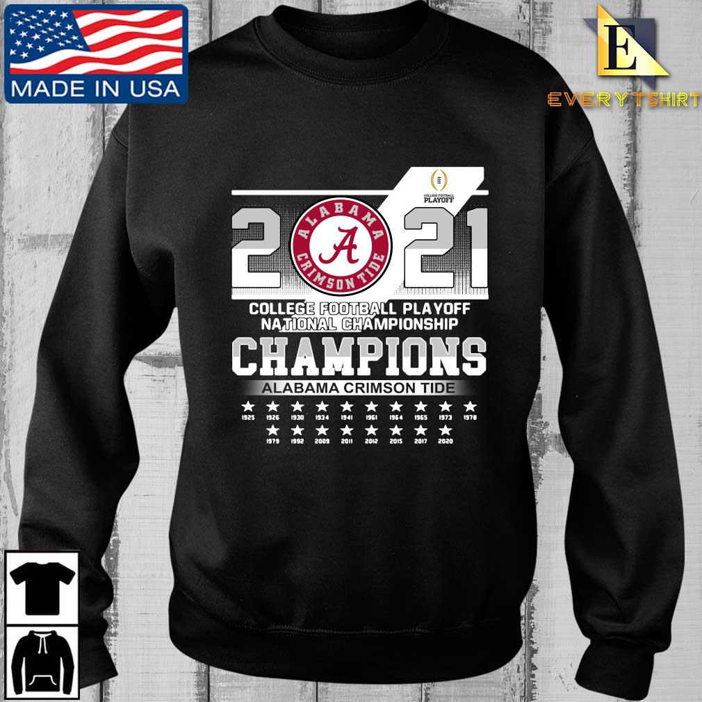 2021 Alabama Crimson Tide college football playoff national Championship Champions 1925-2020 shirt