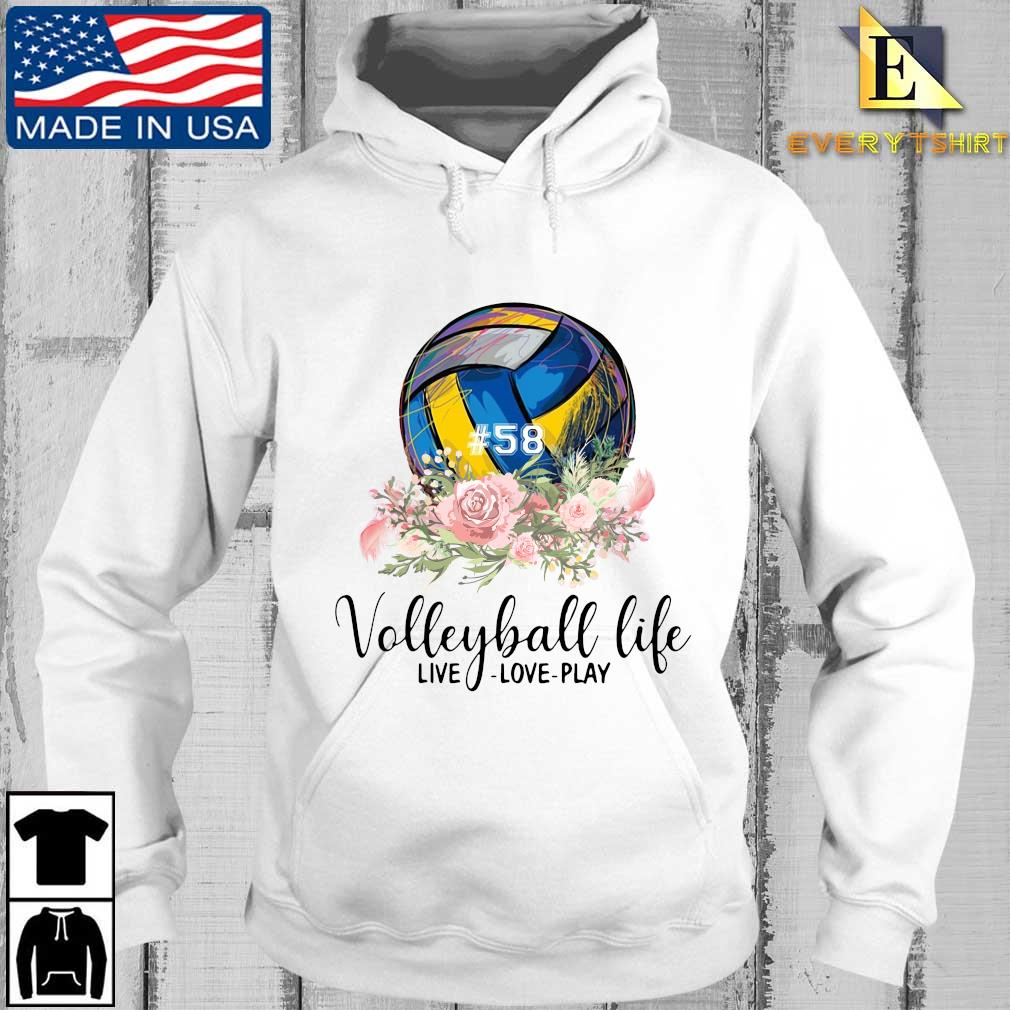#58 volleyball life live love play floral s Every hoodie trang