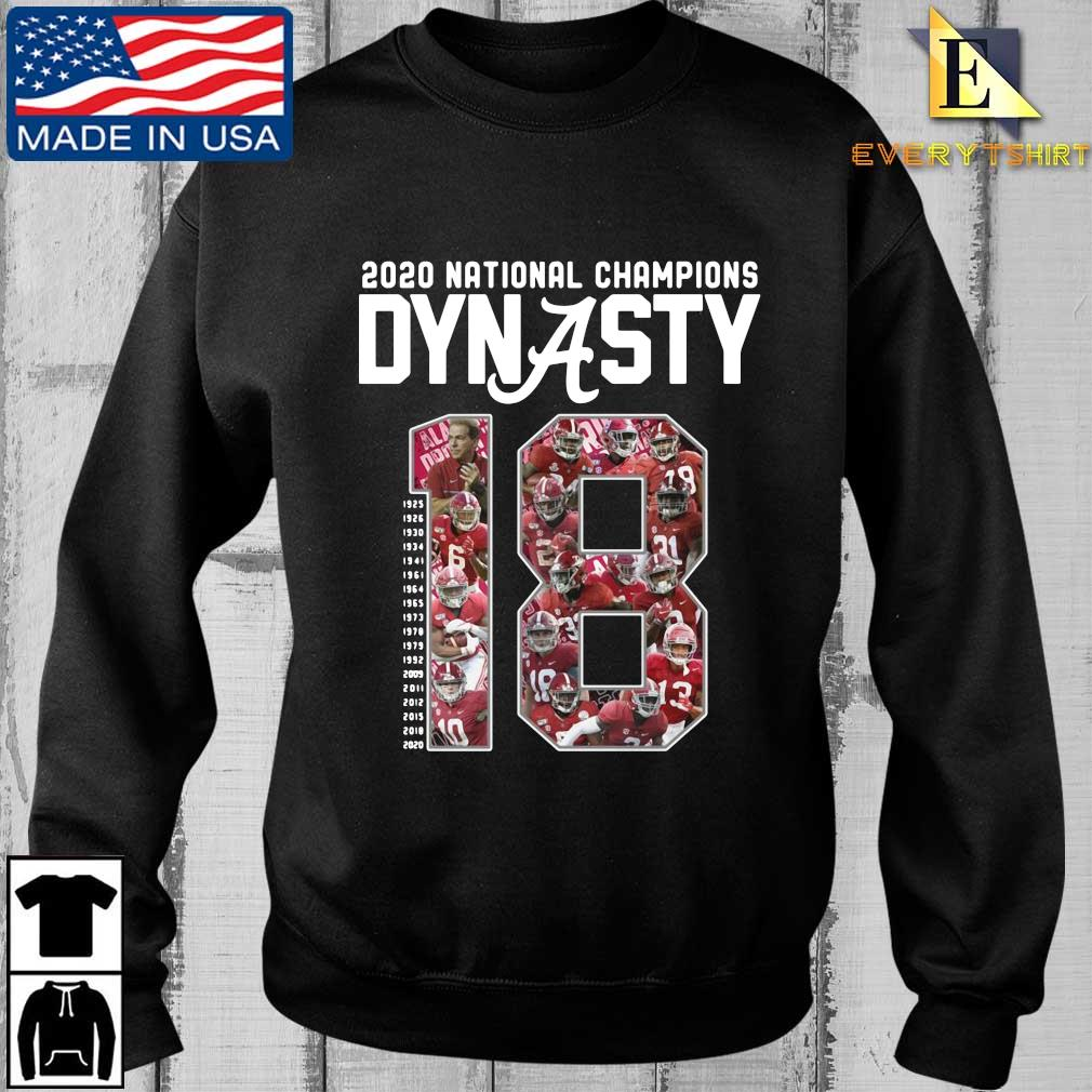 Alabama Crimson Tide 2020 national Champions Dynasty 18 1925-2020 shirt