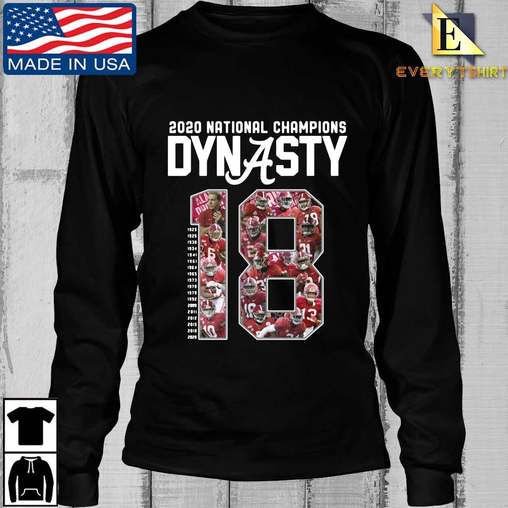 Alabama Crimson Tide 2020 national Champions Dynasty 18 1925-2020 s Longsleeve Every den
