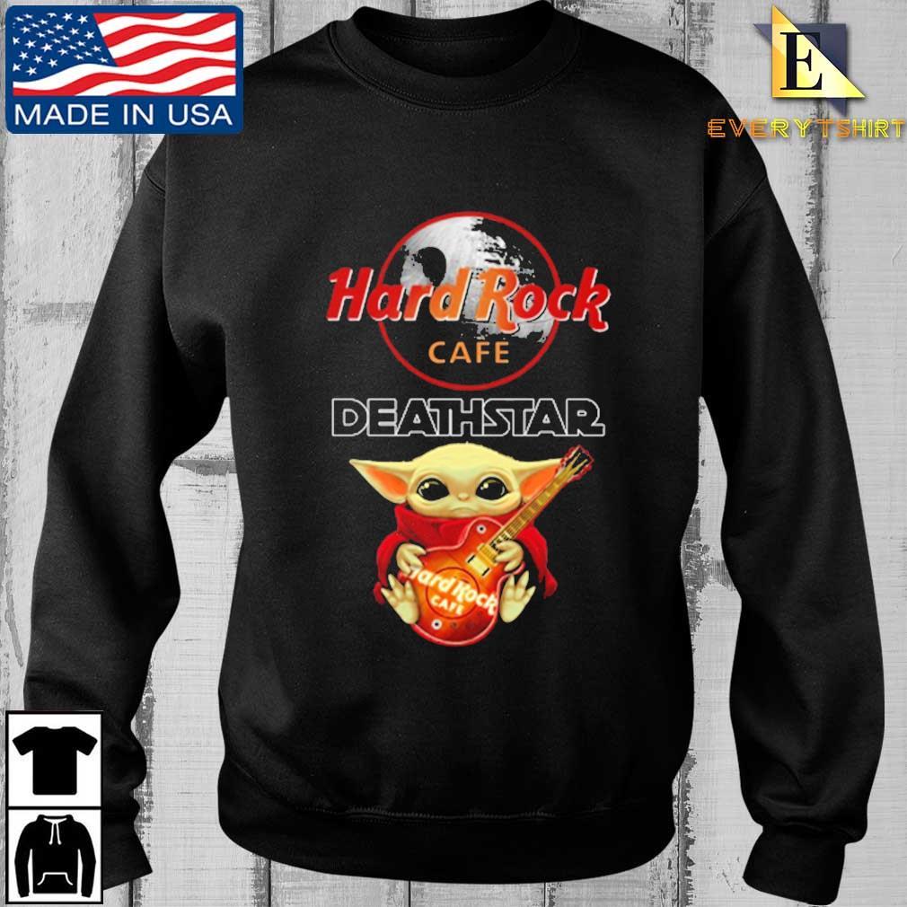 Baby Yoda hug Hard Rock cafe deathstar shirt