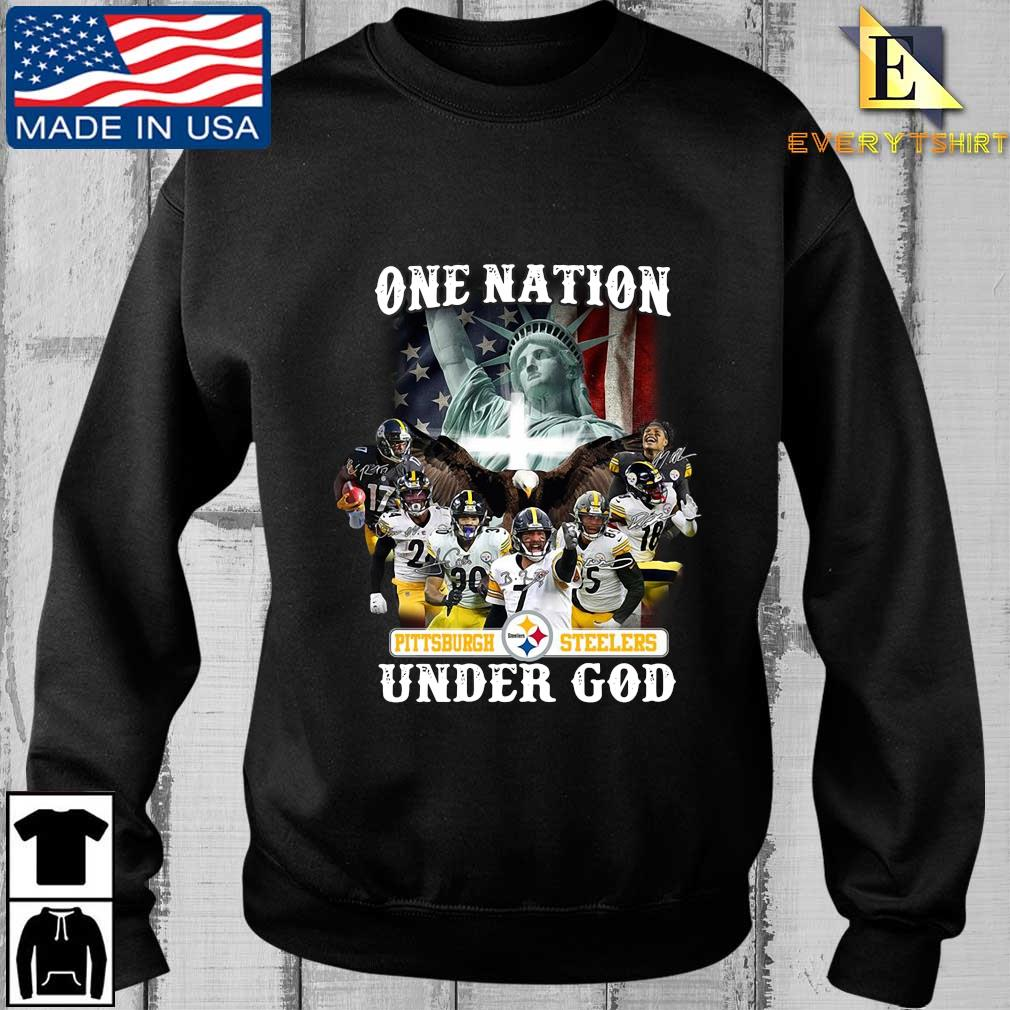 Funny one nation Pittsburgh Steelers under god signatures shirt