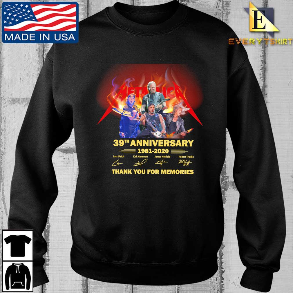 Metallica 39th anniversary 1981-2020 thank you for the memories signatures tee shirt
