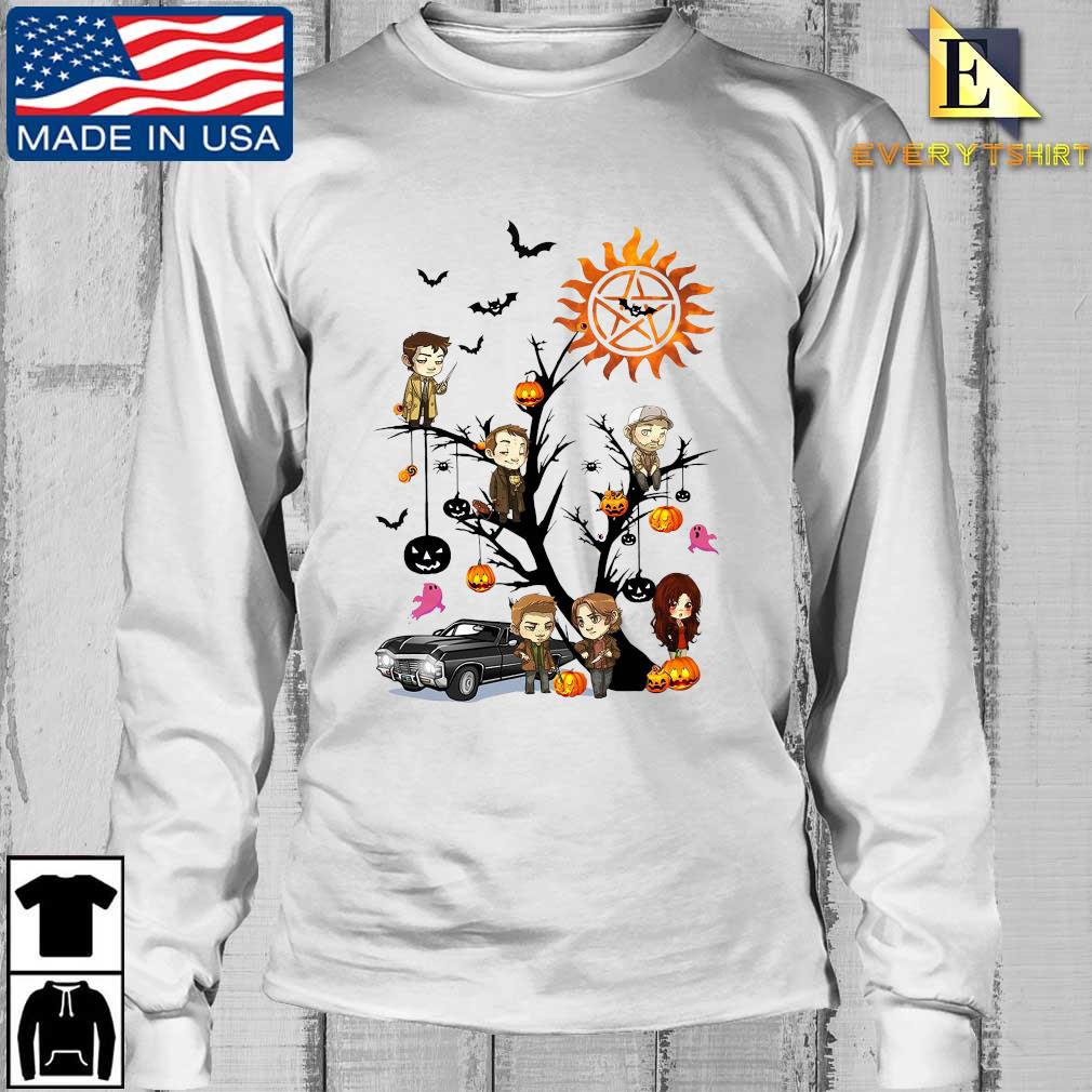 Supernatural chibi character on tree halloween s Longsleeve Every trang