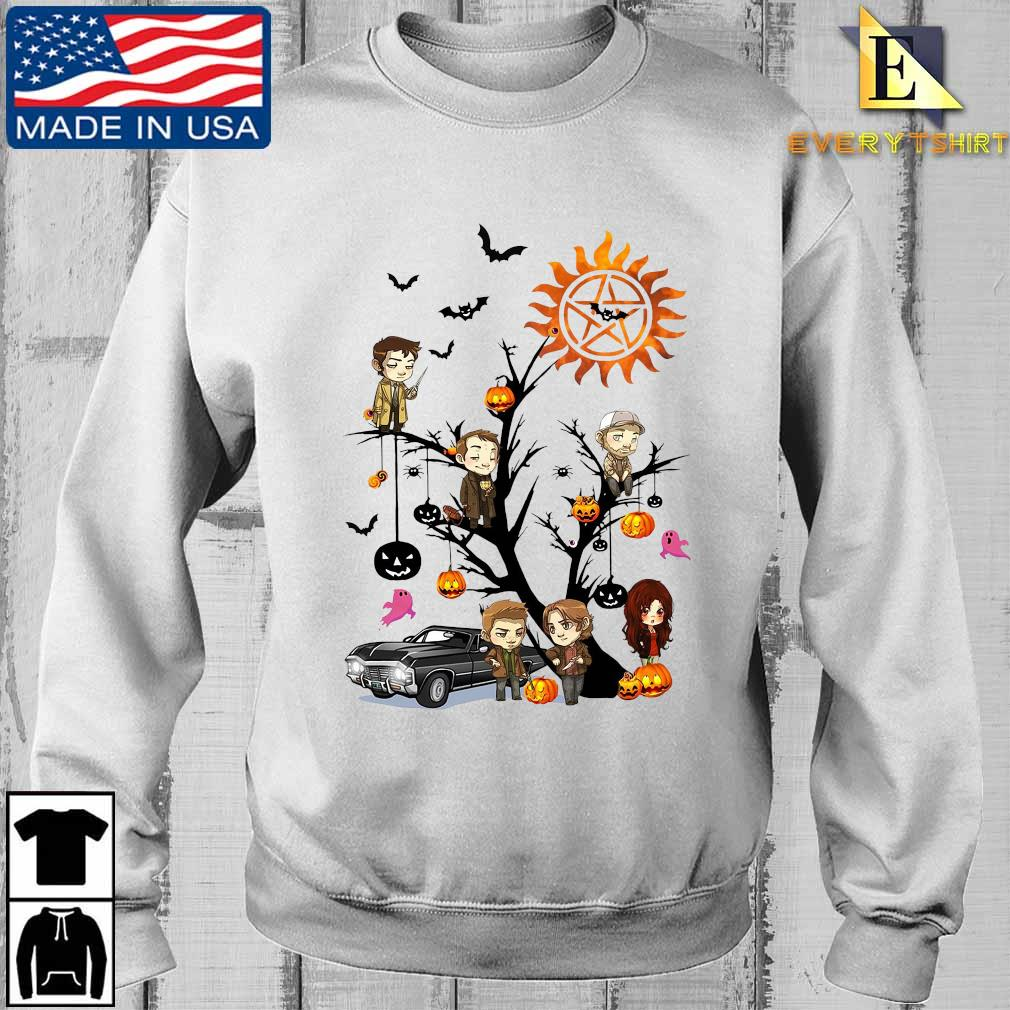 Supernatural chibi character on tree halloween s Sweater Every trang