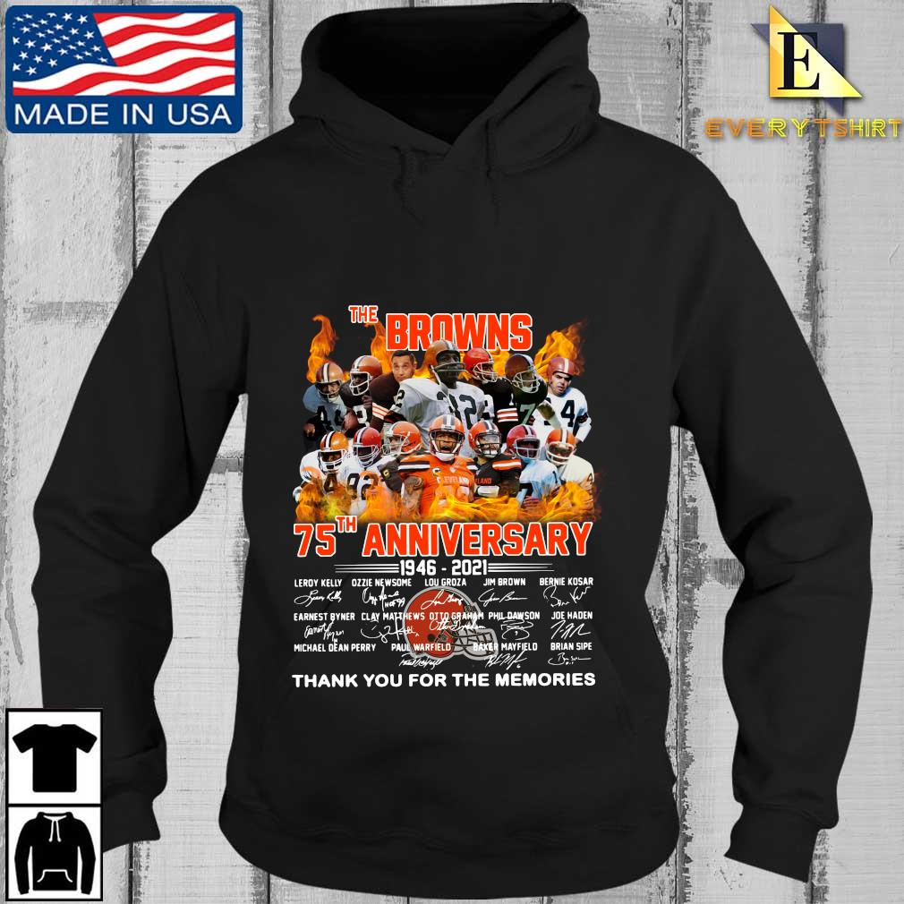 The Cleveland Browns 75th anniversary 1946-2021 thank you for the memories signatures s Every Hoodie den