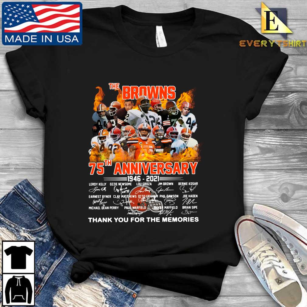 The Cleveland Browns 75th anniversary 1946-2021 thank you for the memories signatures s Every shirt den dai dien