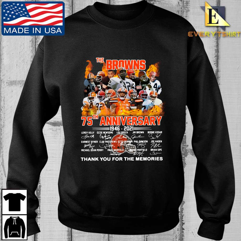 The Cleveland Browns 75th anniversary 1946-2021 thank you for the memories signatures shirt