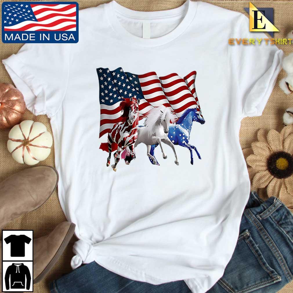 Three Horse American flag shirt